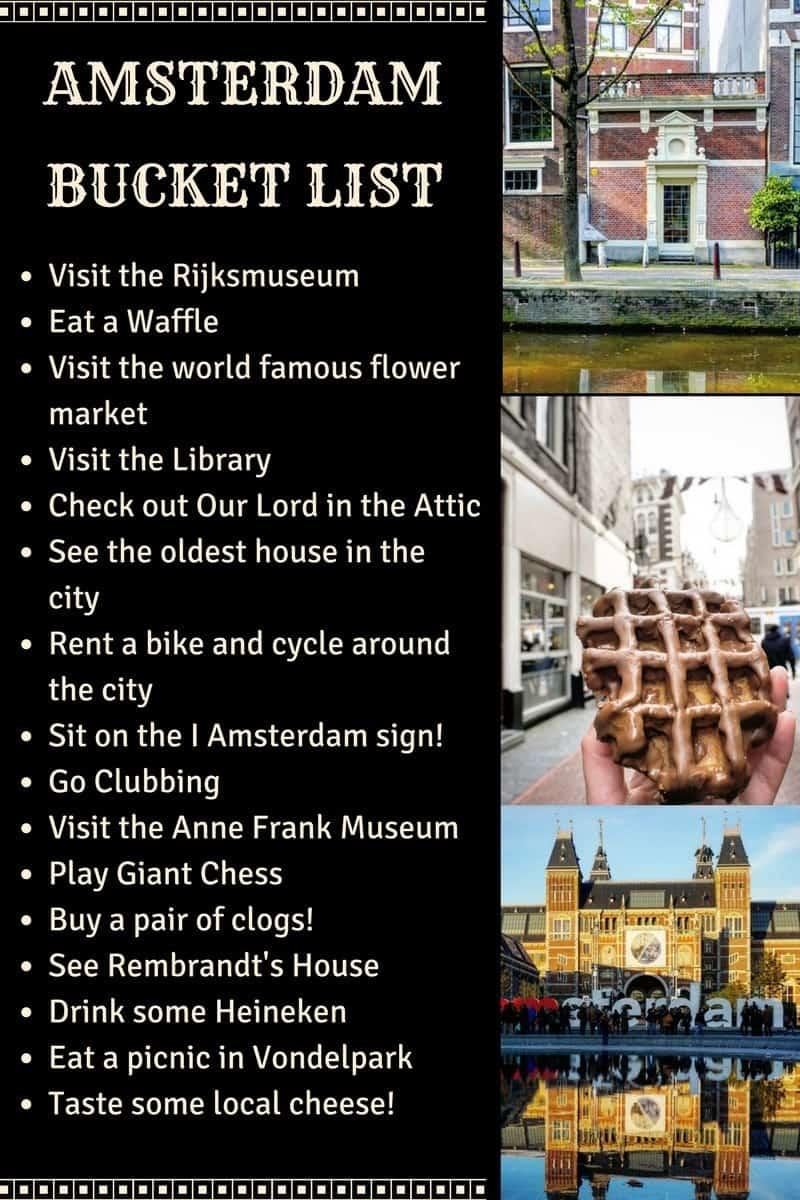 amsterdam bucket list infographic