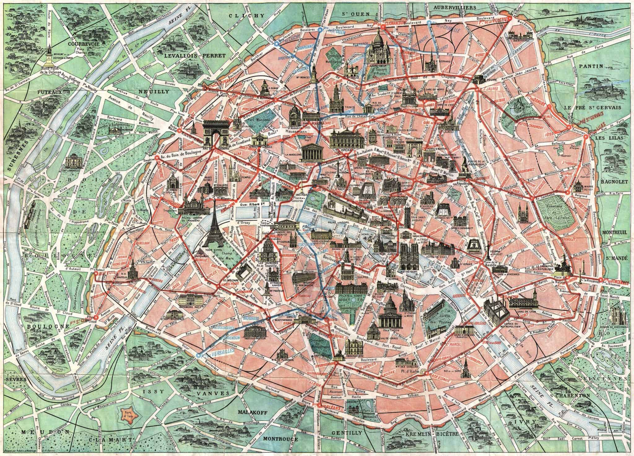vintage illustrated paris maps