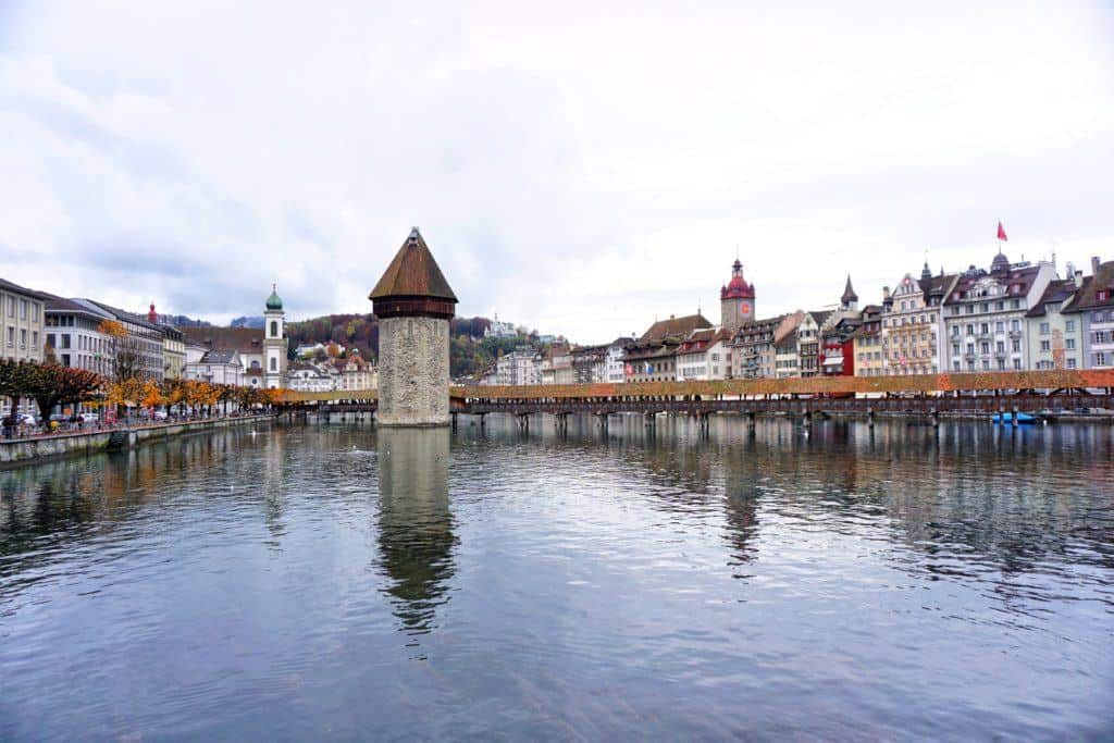 chapel bridge and water tower in lucerne