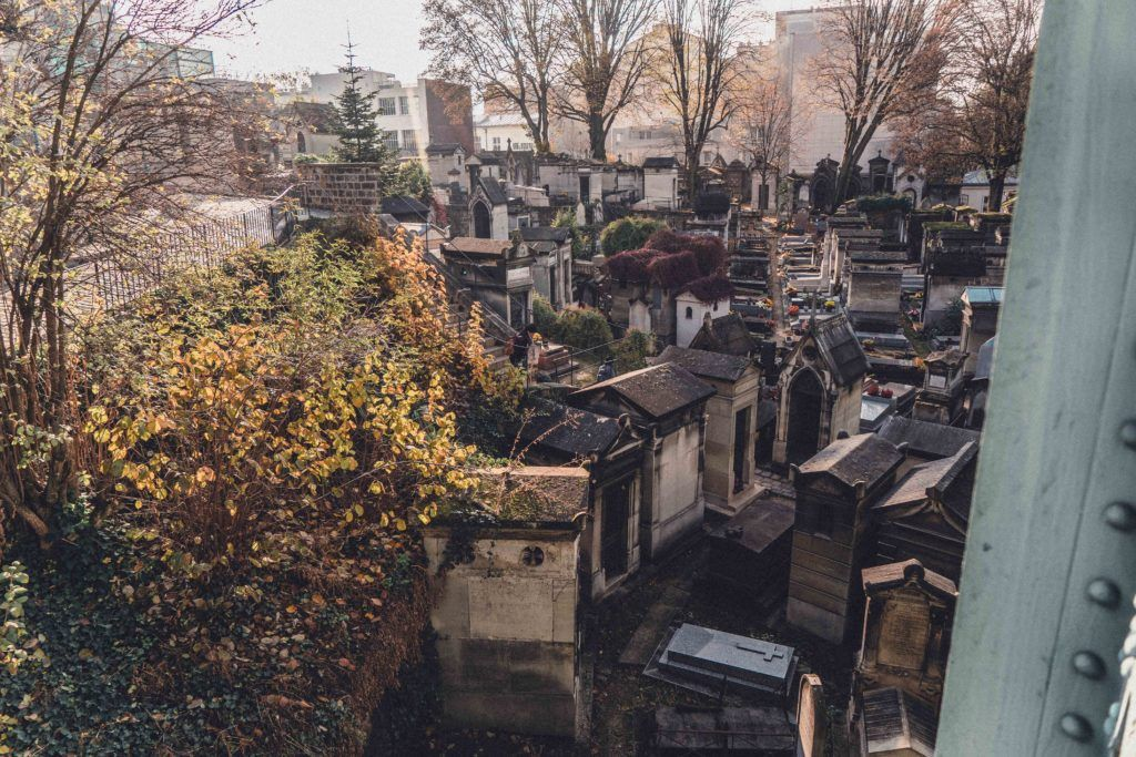 Montmartre Cemetery as seen from above on a sunny day