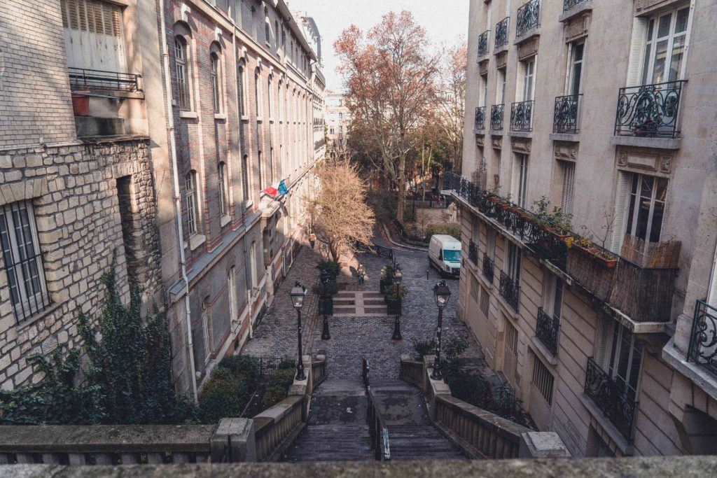 pretty street in Montmartre, Paris