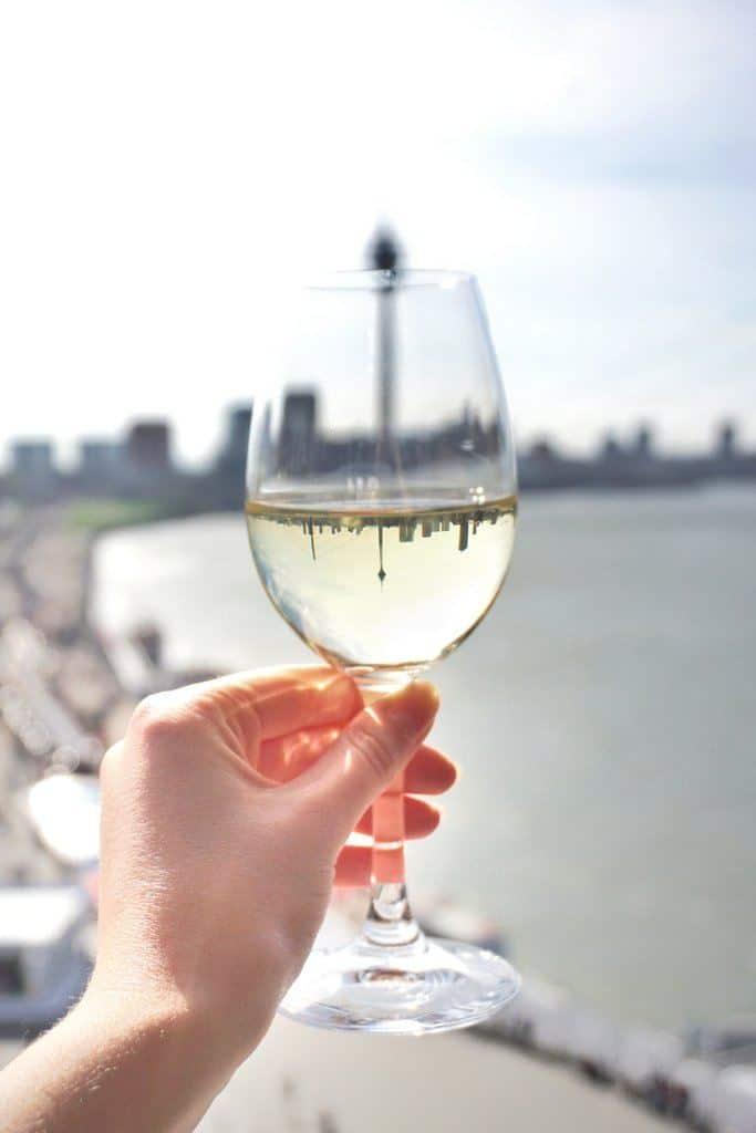 wine glass reflection rheinturm dusseldorf germany