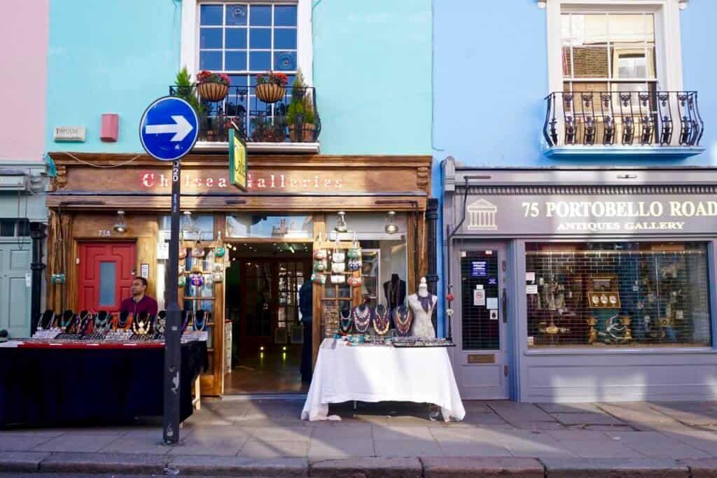 portobello road market finding vintage london england, uk