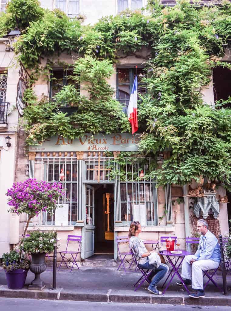 old walking tour of paris, france: cute café