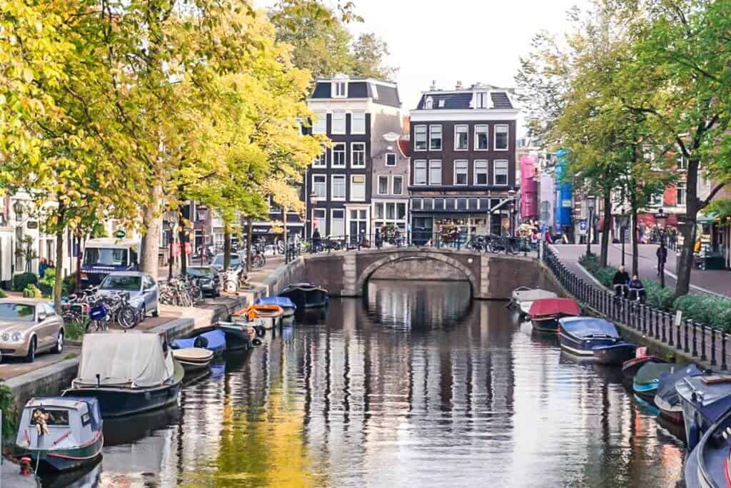 Amsterdam, the Netherlands: canal view in the autumn