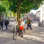 Amsterdam, the Netherlands : Sophie Nadeau cycling