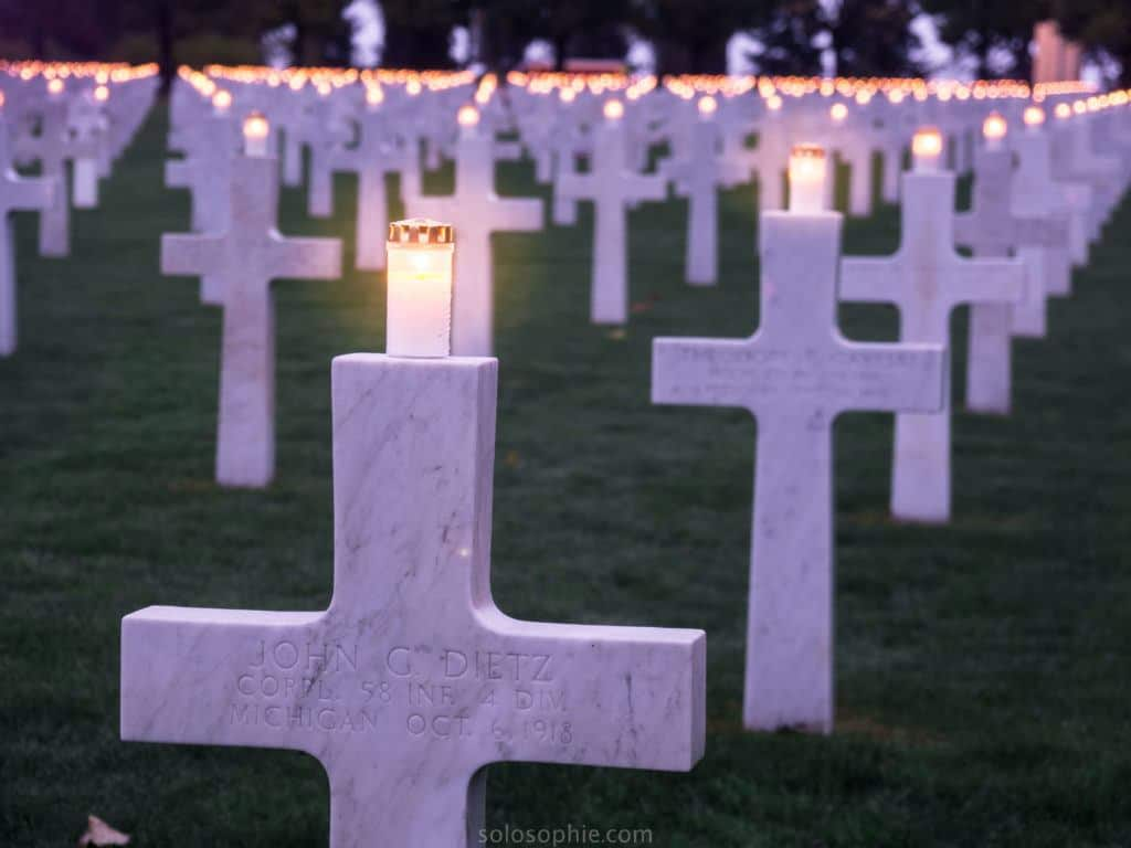 Attending a memorial ceremony at the Meuse-Argonne Cemetery