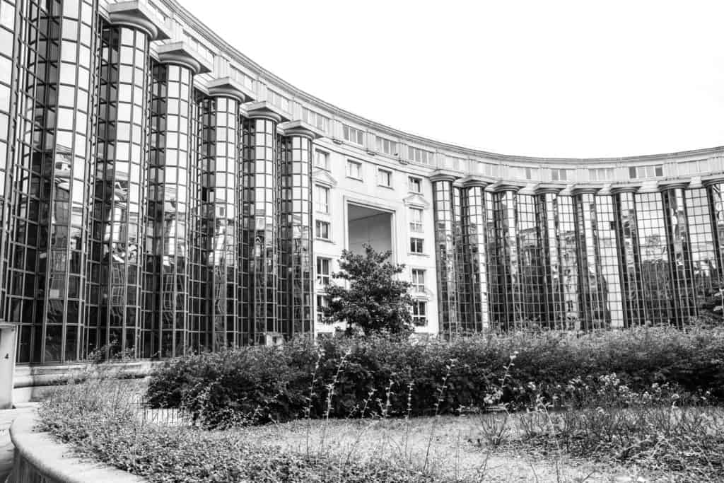 Wandering around the 14e yesterday (I'd visited the area in search of the iron frame of Notre Dame du Travail), I stumbled on this architectural quirk that doesn't quite fit the stereotype of 'Haussmannian Palace'. Instead, the circular building is covered in reflective windows and surrounds a garden filled with fragrant lavender.