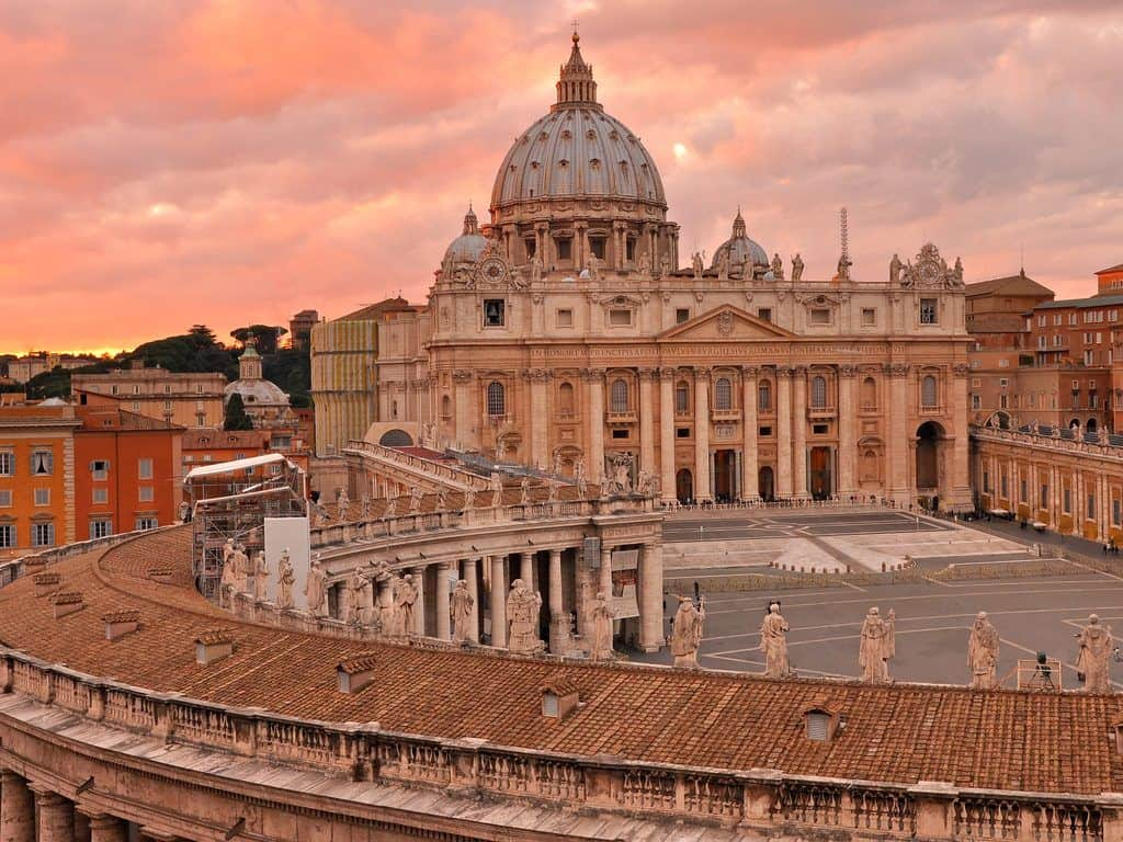 Saint Peters Square and cathedral during sunset