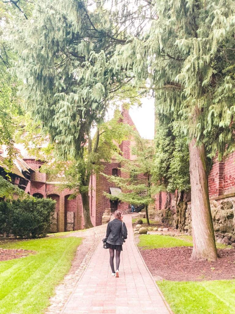 Visiting malbork Castle, the largest and biggest castle in the world, one of the biggest brick buildings in the world, easy day trip from Gdansk, Poland: medieval gardens