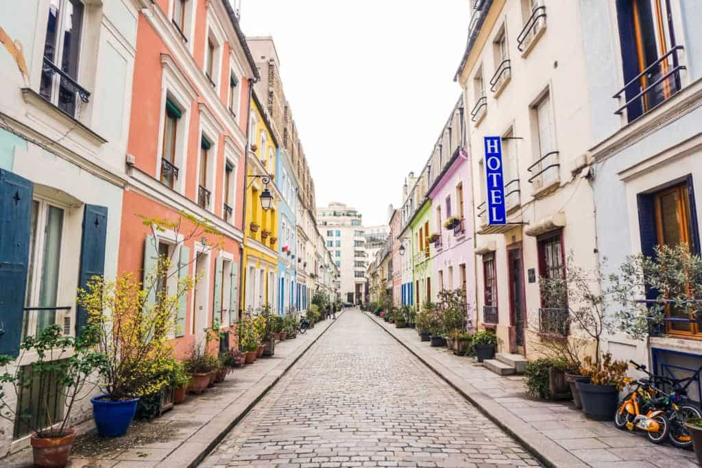 Rue Cremieux, near Bastille, Paris, France: a pretty, pastel and candy coloured house facades in the heart of the French capital