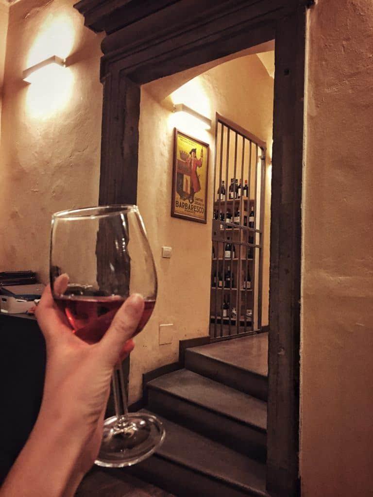 Il Circolino: Dining in an Old Prison in the Heart of Bergamo, Italy: wine glass and wine cellar