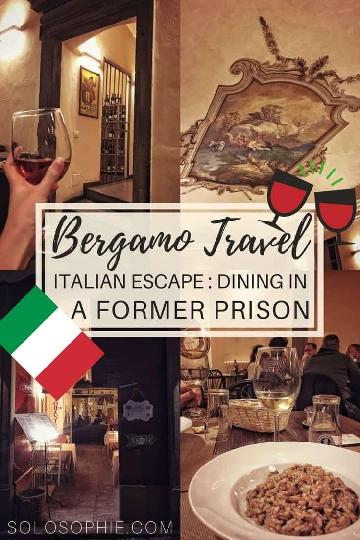 Bergamo Travel: Il Circolino Review, dining in a former prison in the Citta Alta old town of Bergamo, Lombardy, Northern Italy. Risotto, wine, pasta, pizza and more of Italian cuisine.