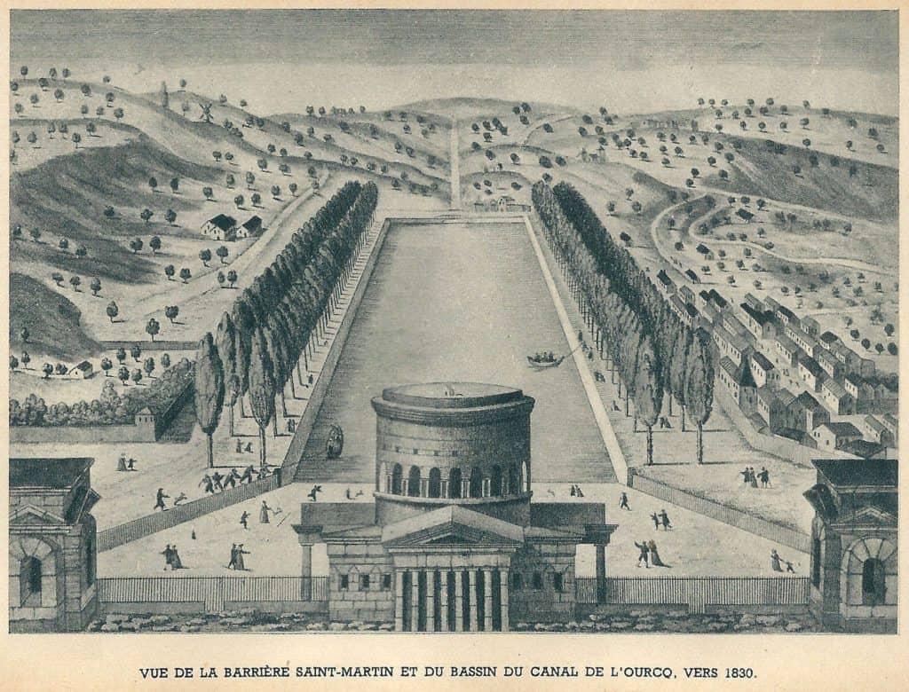 Barrière Saint-Martin et canal de l'Ourcq, à Paris (Seine, France) en 1800