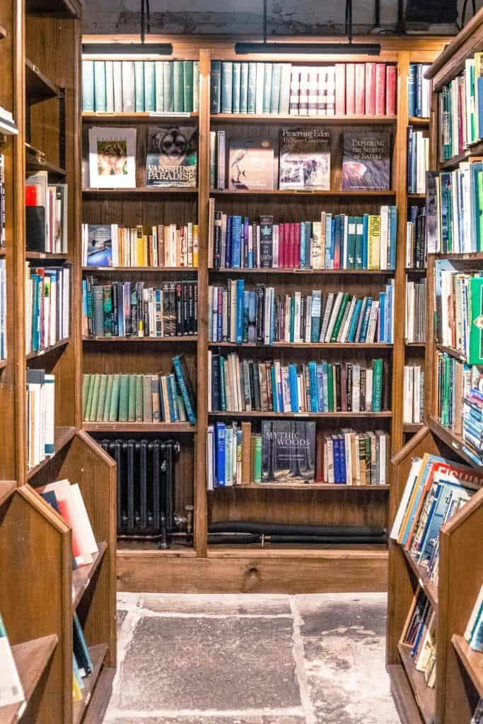 Hay-on-Wye guide, a book town for bibliophiles in South Wales: bookshelves in wales