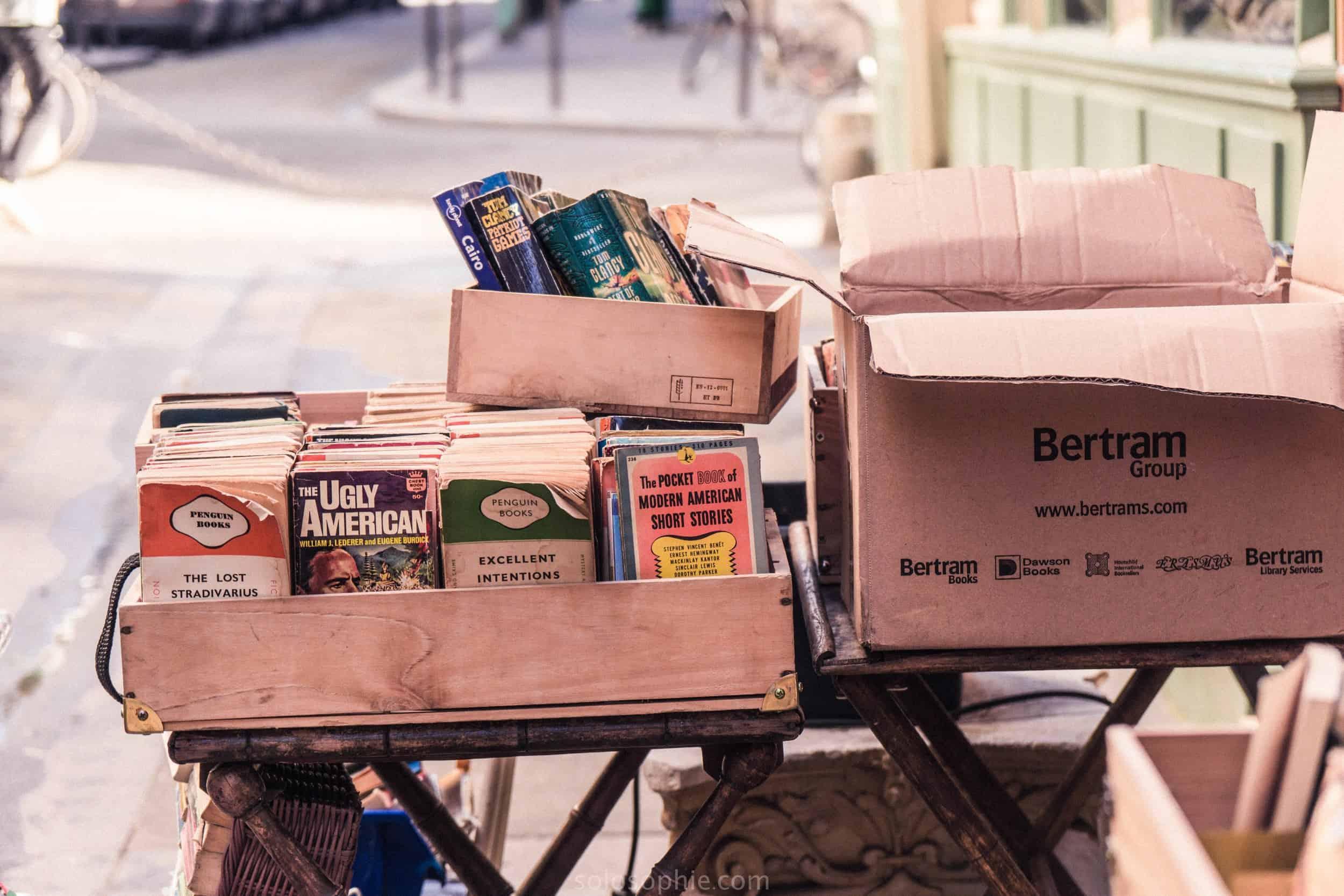 The Abbey Bookshop, Latin Quarter, Paris, France: boxes of books