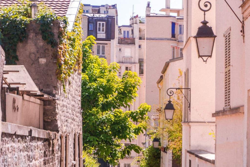 Butte Aux Cailles charming street in Paris, France