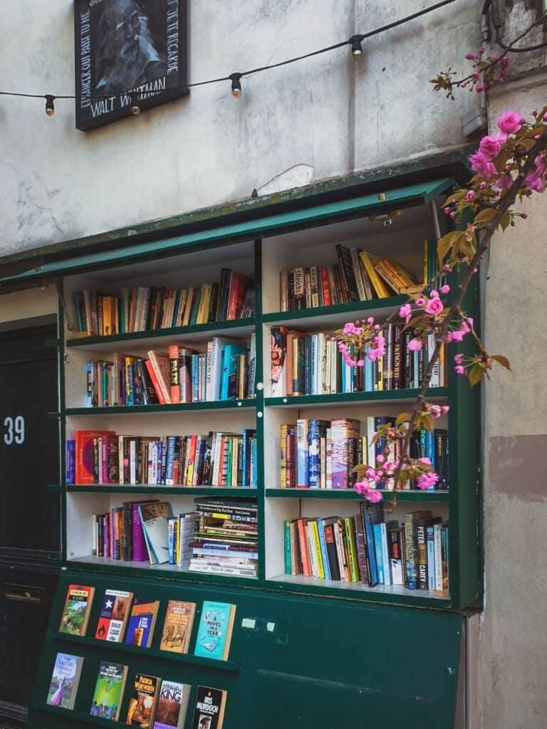 Just outsideShakespeare and Co. bookstore