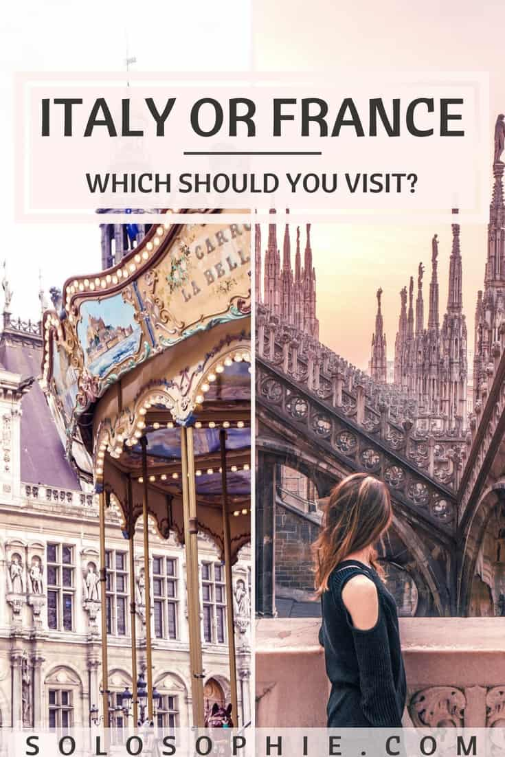 Italy or France? France vs Italy. Which should you visit when it comes to Europe travel? A comparison between Italy and France in forms of history, capitals, attractions, food, drink, and more!