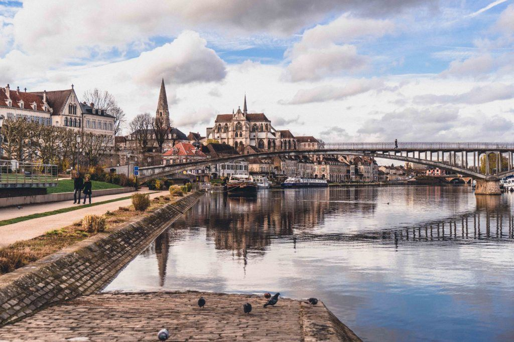auxerre river view, Burgundy, France