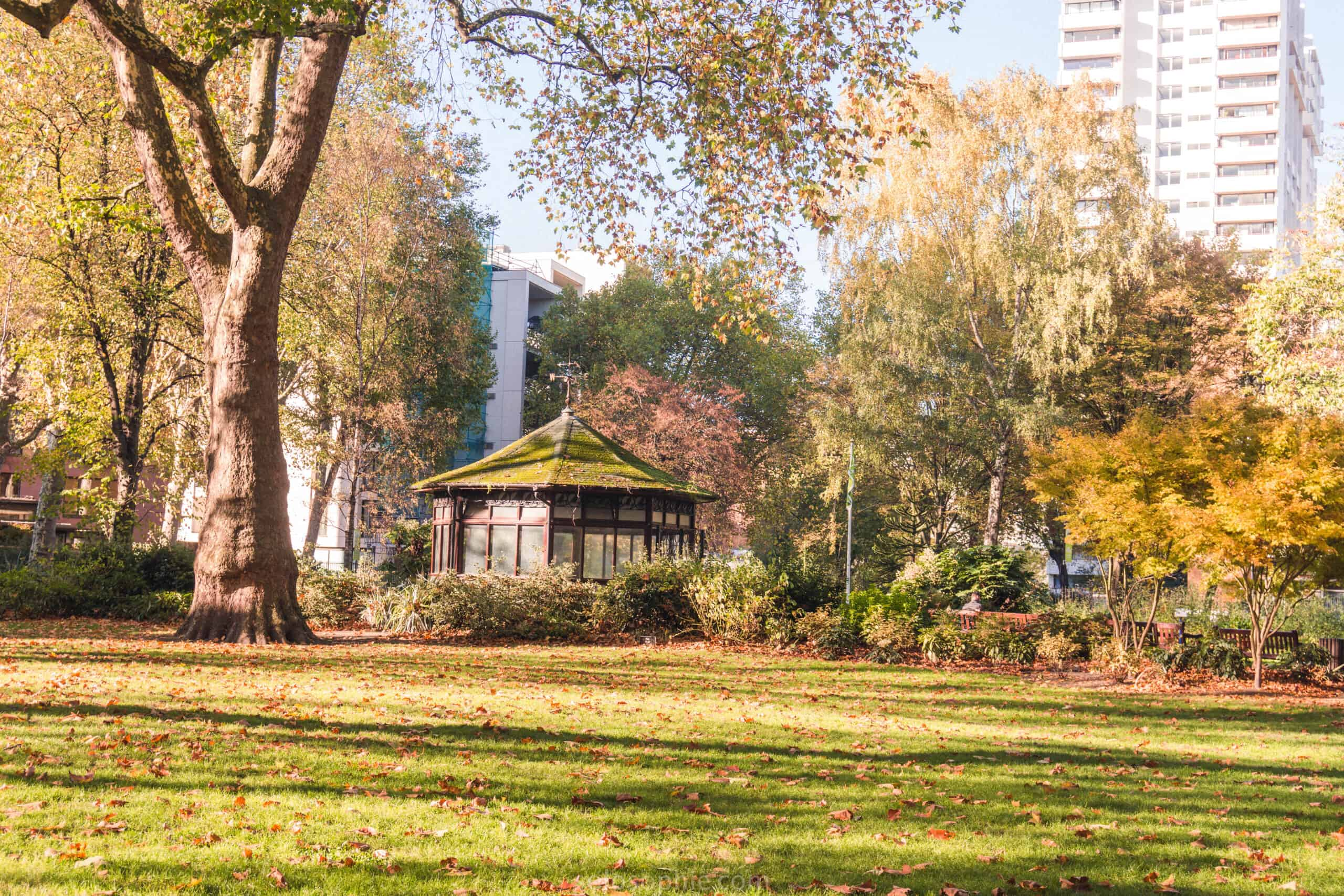 Paddington Street Gardens: a green space and park housed on the site of a former cemetery in Marylebone, London, England