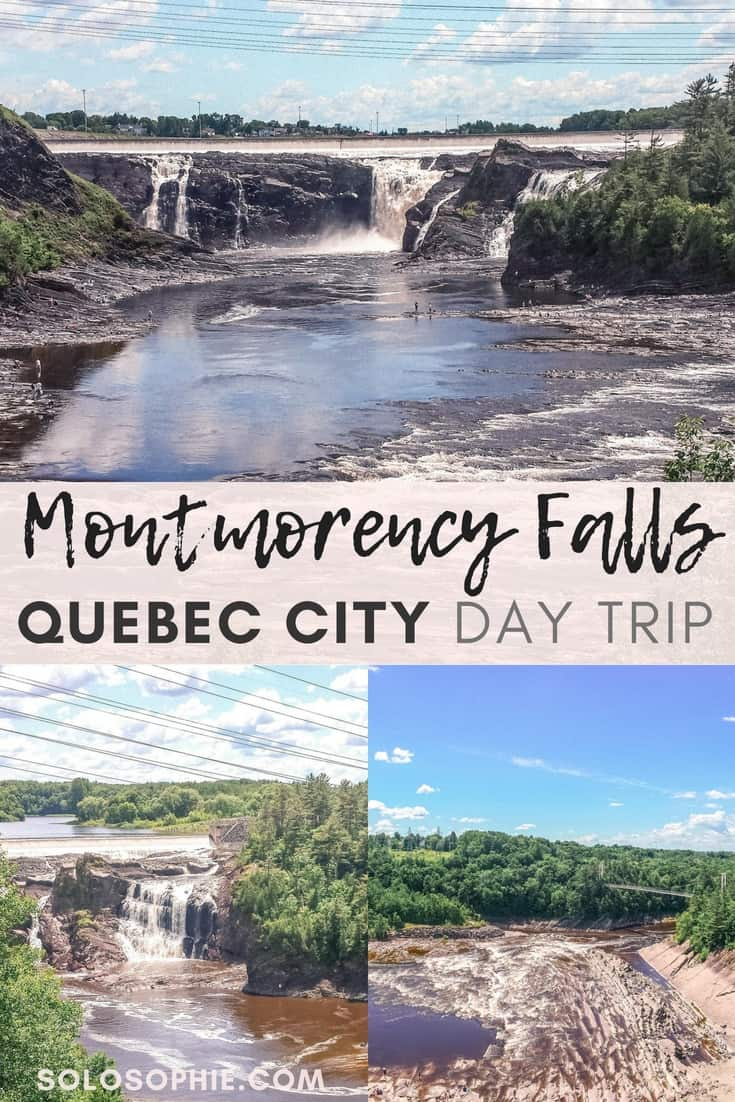 Montmorency Falls: An Easy Day Trip from downtown Quebec City. Quebec, Canada. Located in the Parc de la Chute-Montmorency park, the falls can be visited year-round and are home to lots of adventure activities.