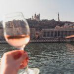 Rosé wine by the river in Lyon, France
