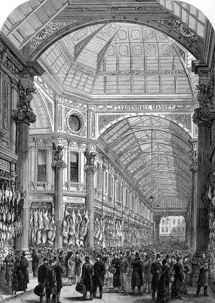 Leadenhall Market print from 1881