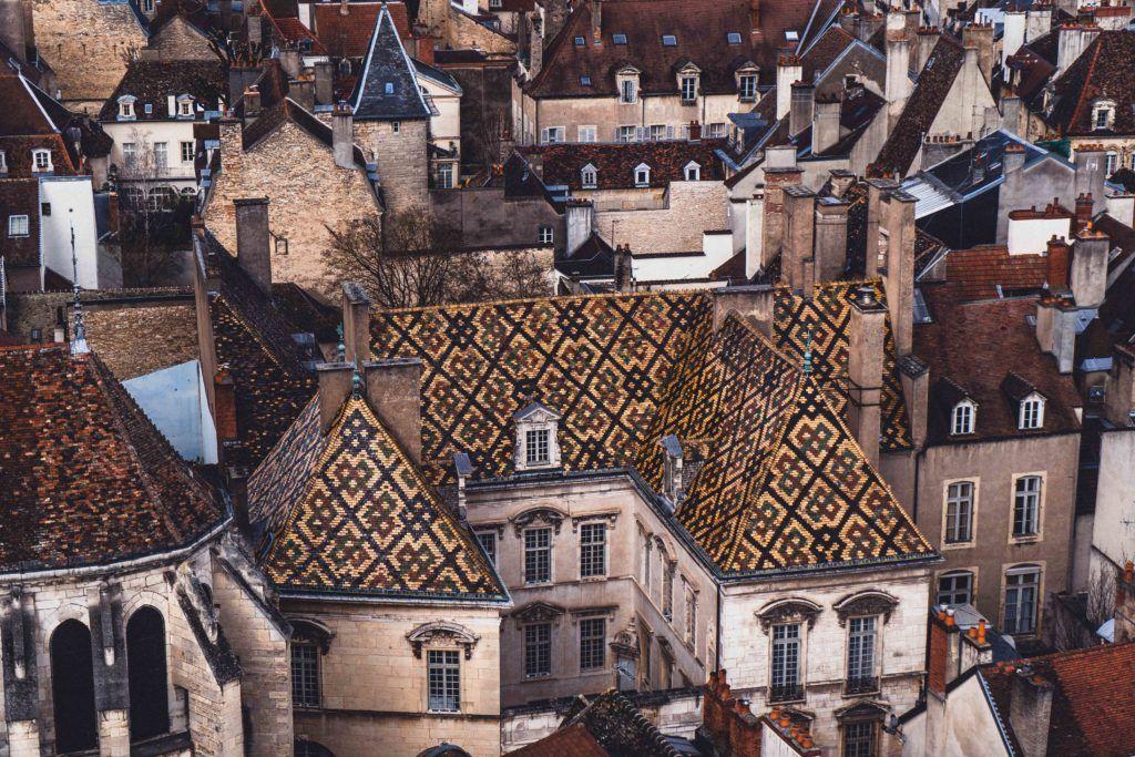 traditional glazed roof tiles in Burgundy, Eastern France