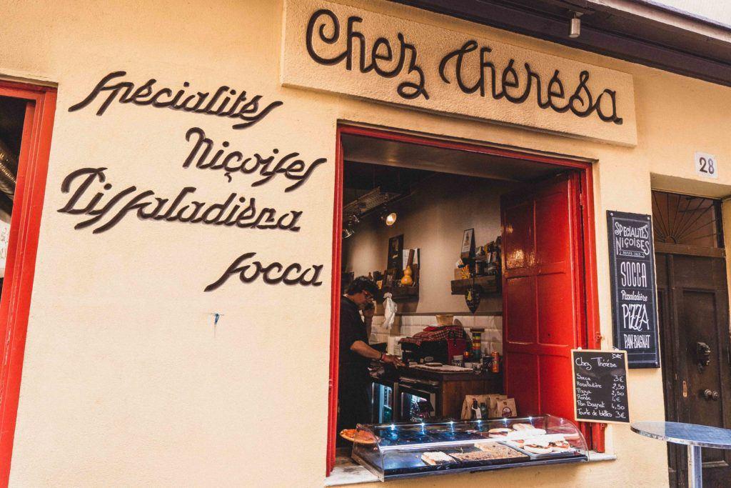 Chez Theresa shop facade in Nice