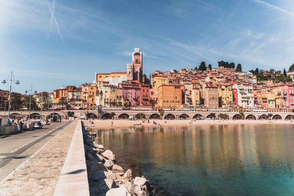 Menton harbour on a clear and sunny day in Spring