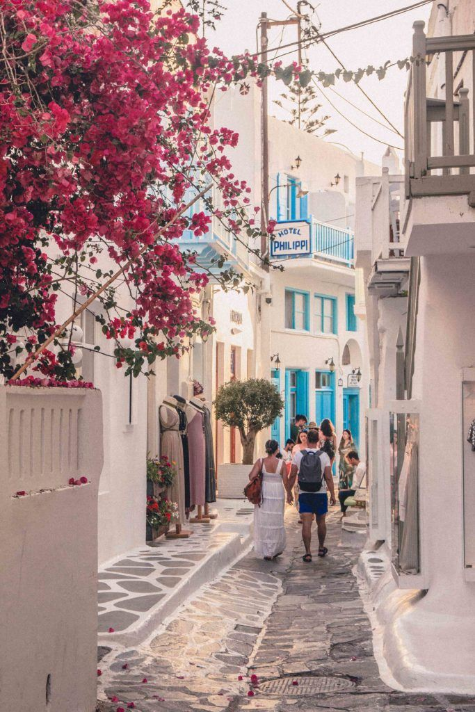 Mykonos old town and bourgainvillea