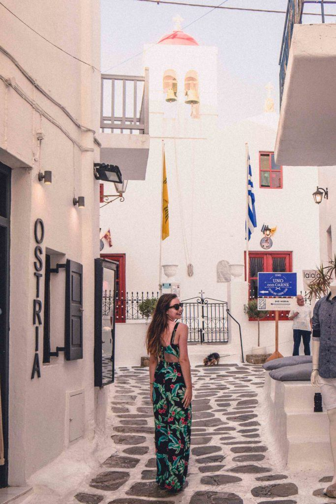 Wandering around the streets of the Chora (ie Mykonos Town) in the summer