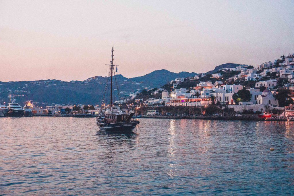 Sunset in the port on the island of Mykonos