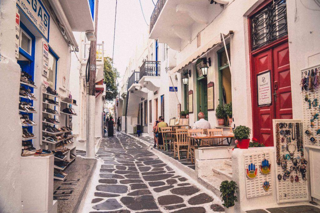 The Chora street in Mykonos Island, Greece
