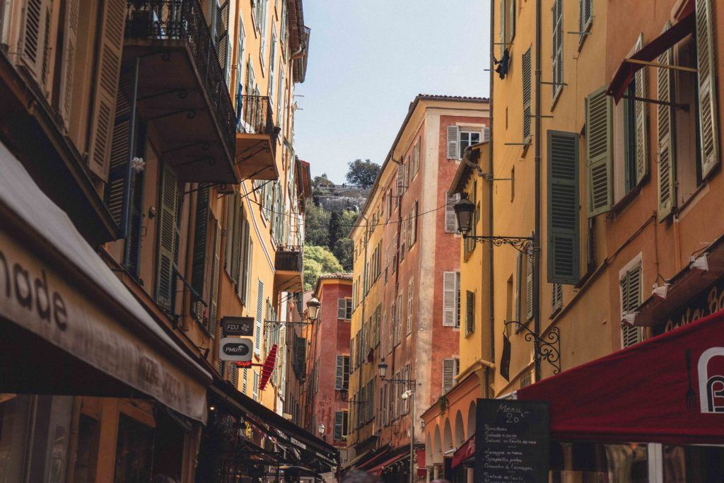 Beautiful colourful houses in Nice