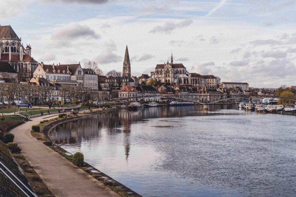 Auxerre quay on a sunny day