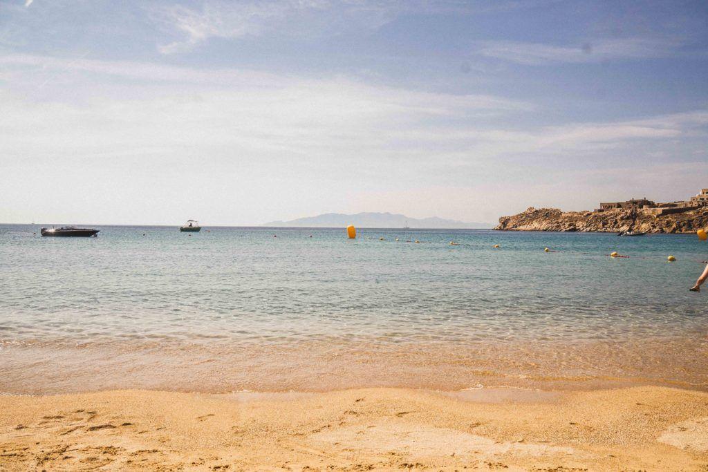 Sunny day on Super Paradise beach in Mykonos