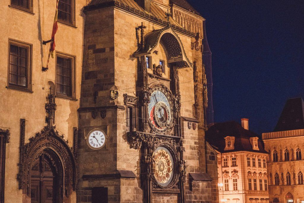 Nightime at the Prague Clock, one of the oldest astronomical clocks in the world
