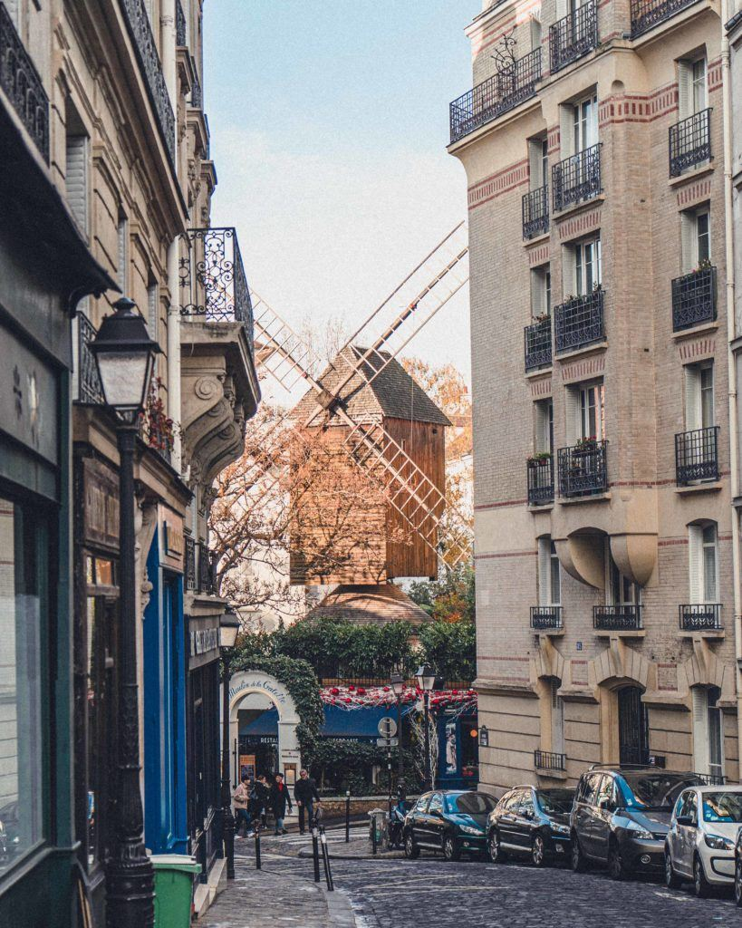 windmill on rue Lepic in Paris, France