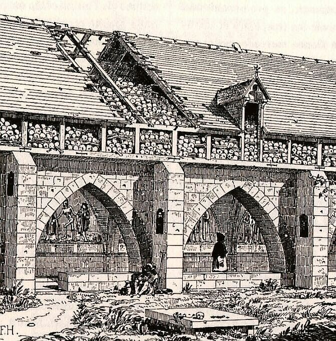 A depiction of the Charnel house at the Saints Innocents Cemetery in Paris, with the mural of aDanse Macabreon the wall. via Wikimedia