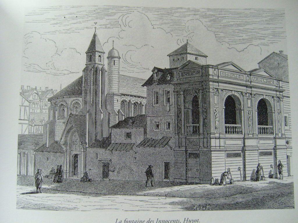 19th-century engraving of the Fountaine des Innocents, Bibliotheque des arts decoratifs, Paris. via Wikimedia