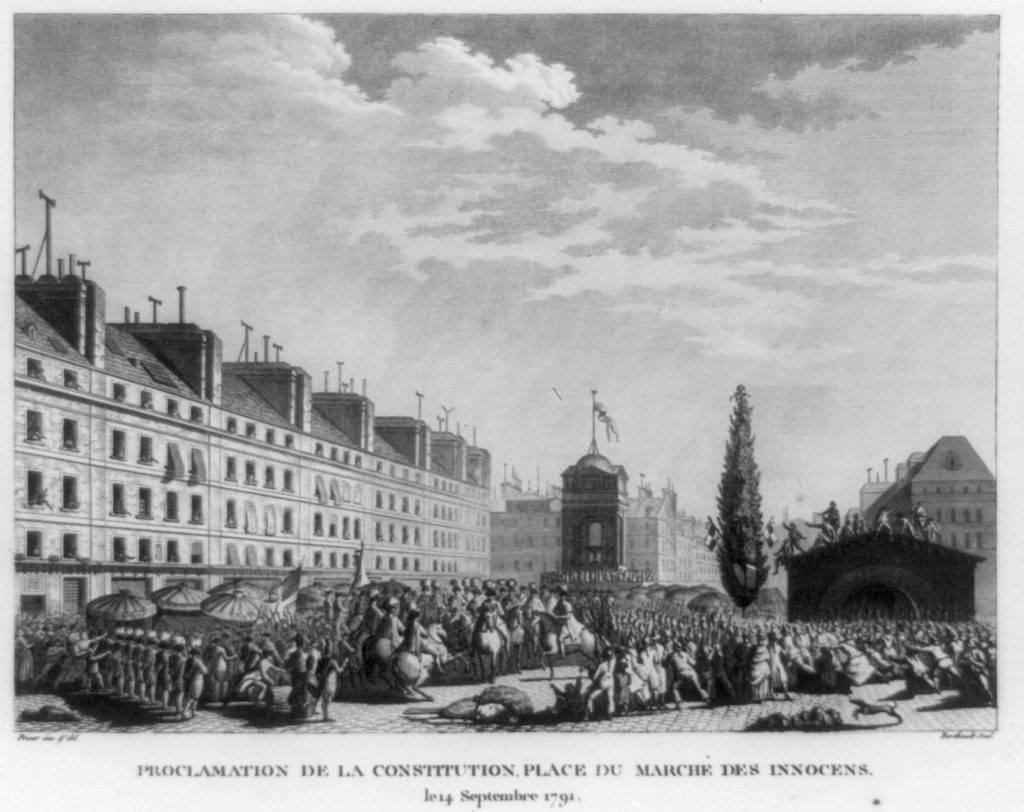 Proclamation in front of the Fontaine des Innocents in the French Revolution