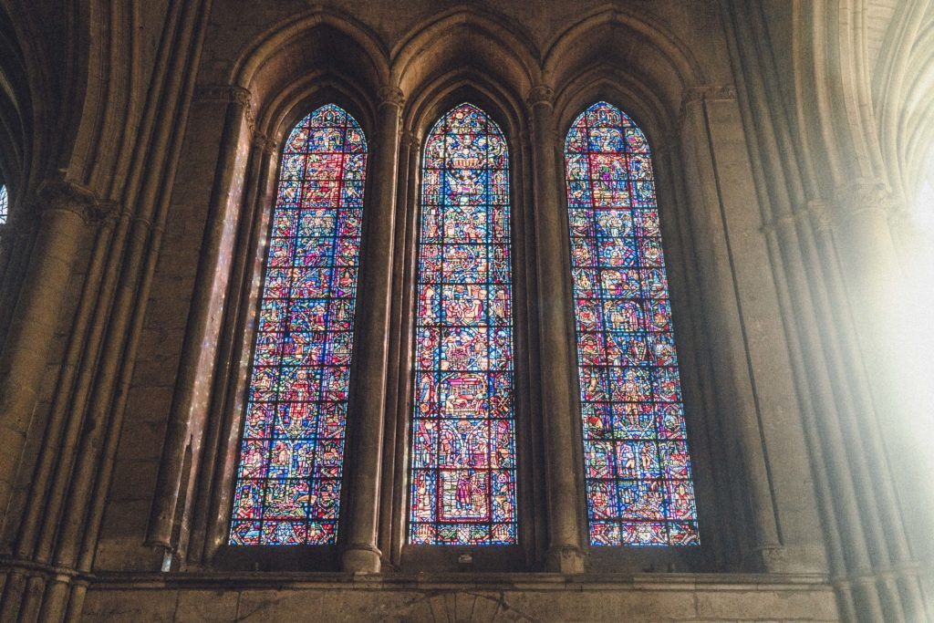 Champagne Stained Glass Window in Reims Cathedral, France