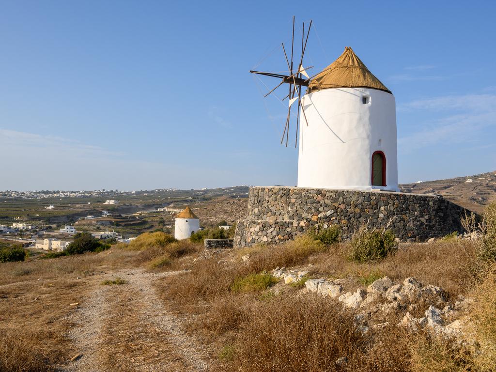 Windmills of Emporio Santorini Greece