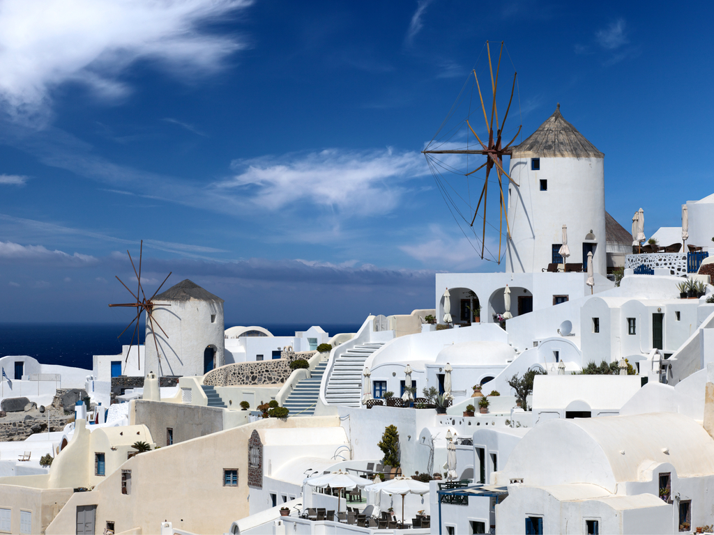 windmills in santorini greece