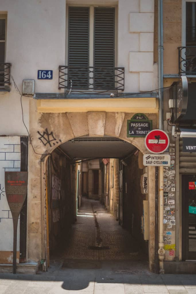 Passage de la Trinité, a Slice of Medieval Paris in the 2e arrondissement of Paris, France (paris hidden gem)
