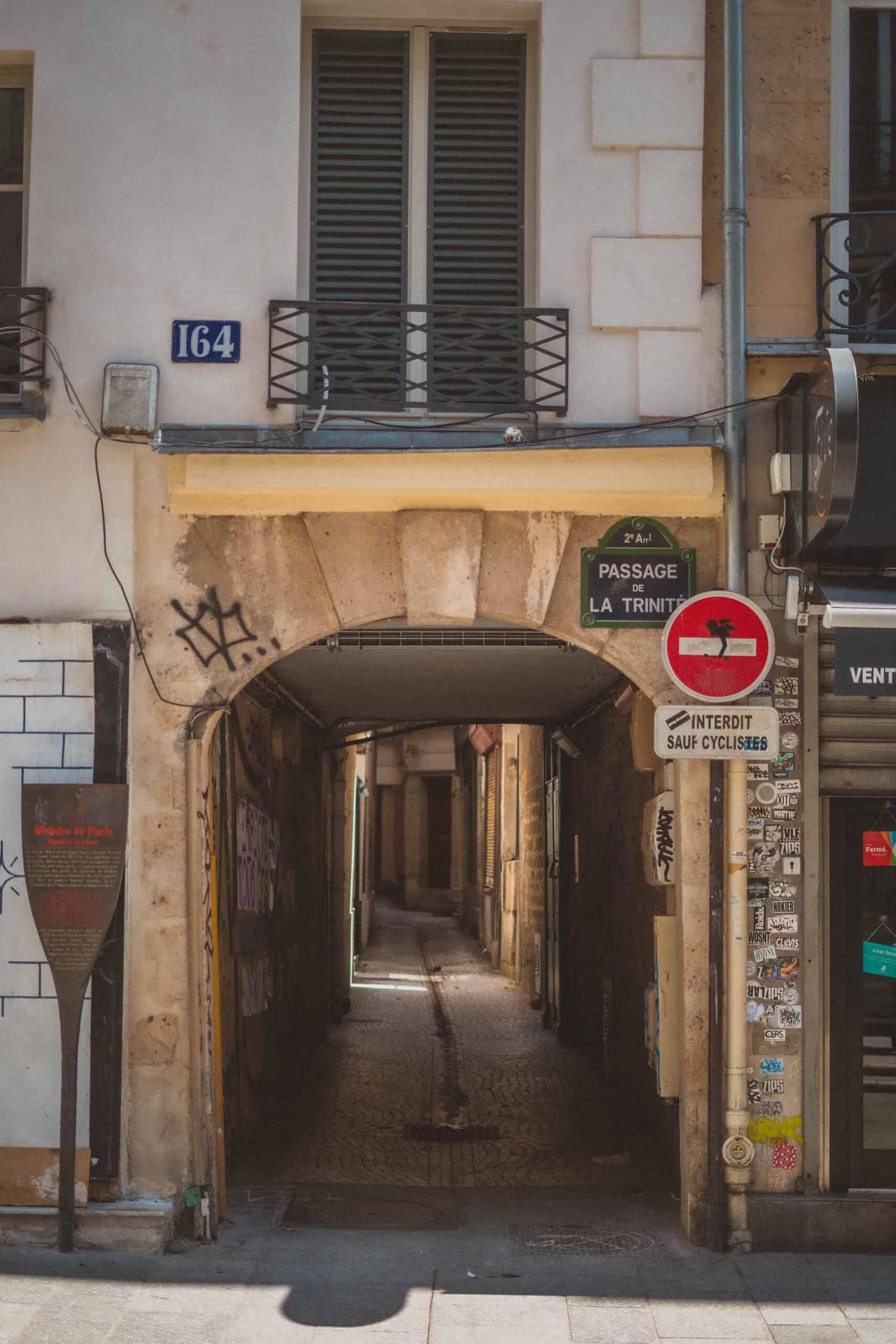Passage de la Trinité, a Slice of Medieval Paris in the 2e arrondissement of Paris, France (paris hidden gem)